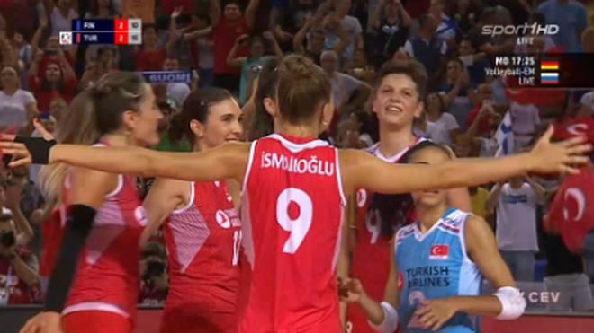 Die Türkei gewinnt bei der Volleyball-EM 2019 gegen Finnland
