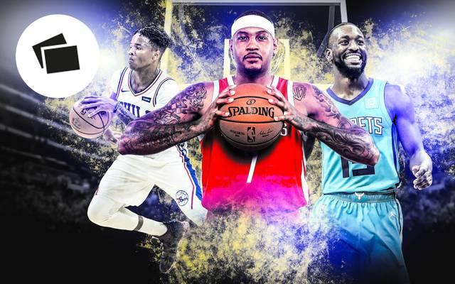 Markelle Fultz (l.), Carmelo Anthony (m.) und Kemba Walker gehören zu den Trade-Kandidaten der NBA