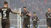 HAMBURG, GERMANY - MARCH 01: Dimitrios Diamantakos of FC St. Pauli and his teammates celebrate after scoring during the Second Bundesliga match between FC St. Pauli and VfL Osnabrück at Millerntor Stadium on March 01, 2020 in Hamburg, Germany. (Photo by Cathrin Mueller/Bongarts/Getty Images)