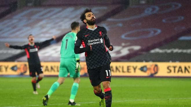 Mohamed Salah durfte gegen West Ham gleich zwei Treffer bejubeln