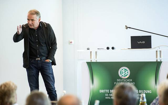 FRANKFURT AM MAIN, GERMANY - JUNE 03: Referee Coach Lutz Wagner holds a speech during the DFB annual education congress at  Holiday Inn Airport North Hotel on June 3, 2016 in Frankfurt am Main, Germany. (Photo by Alexander Scheuber/Bongarts/Getty Images)
