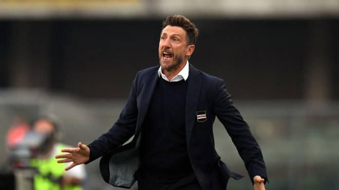 VERONA, ITALY - OCTOBER 05:  Eusebio Di Francesco head coach of UC Sampdoria  gestures during the Serie A match between Hellas Verona and UC Sampdoria at Stadio Marcantonio Bentegodi on October 5, 2019 in Verona, Italy.  (Photo by Alessandro Sabattini/Getty Images)