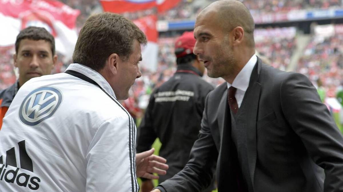 Dieter Hecking (l.) und Pep Guardiola (r.) trafen in der Bundesliga aufeinander