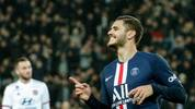 Paris Saint-Germain's Argentine forward Mauro Icardi reacts during the French L1 football match between Paris Saint-Germain (PSG) and Lyon (OL) at the Parc des Princes stadium in Paris, on February 9, 2020. (Photo by GEOFFROY VAN DER HASSELT / AFP) (Photo by GEOFFROY VAN DER HASSELT/AFP via Getty Images)