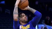 SAN FRANCISCO, CALIFORNIA - DECEMBER 25: D'Angelo Russell #0 of the Golden State Warriors warms up prior to the start of an NBA basketball game against the Houston Rockets at Chase Center on December 25, 2019 in San Francisco, California. NOTE TO USER: User expressly acknowledges and agrees that, by downloading and or using this photograph, User is consenting to the terms and conditions of the Getty Images License Agreement. (Photo by Thearon W. Henderson/Getty Images)