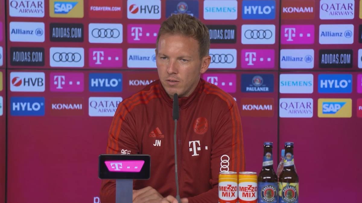 Kurz vor Transferschluss kursieren wilde Gerüchte rund um den FC Bayern. Julian Nagelsmann bezieht Stellung.