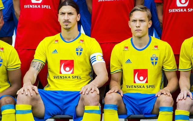Zlatan Ibrahimovic und Ludwig Augustinsson beim Nationalteam von Schweden