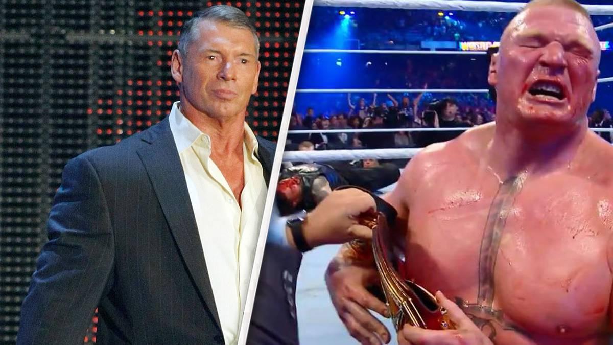 Vince McMahon (l.) und Brock Lesnar stritten sich nach WWE WrestleMania 34 hinter den Kulissen