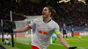 Leipzig's Austrian midfielder Marcel Sabitzer celebrates scoring the 2-0 during the UEFA Champions League football match between RB Leipzig and Tottenham Hotspur, in Leipzig, eastern Germany on March 10, 2020. (Photo by Odd ANDERSEN / AFP) (Photo by ODD ANDERSEN/AFP via Getty Images)