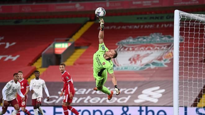Bernd Leno parierte zwei Elfmeter des FC Liverpool