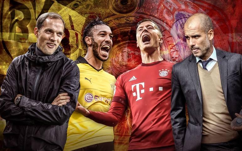 Borussia Dortmund trifft auf den FC Bayern, Thomas Tuchel (l.) auf Pep Guardiola (r.), Pierre-Emerick Aubameyang (2. v. l.) auf Robert Lewandowski. Sollte der BVB das Topspiel am Samstagabend gewinnen, könnte der Titelkampf noch einmal richtig spannend werden. SPORT1 vergleicht die beiden Mannschaften Mann gegen Mann