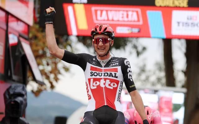 Tim Wellens freut sich über seinen zweiten Tagessieg