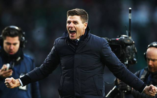 GLASGOW, SCOTLAND - DECEMBER 29: Rangers Manager Steven Gerrard celebrates at full time during the Ladbrokes Premiership match between Celtic and Rangers at Celtic Park on December 29, 2019 in Glasgow, Scotland. (Photo by Ian MacNicol/Getty Images)