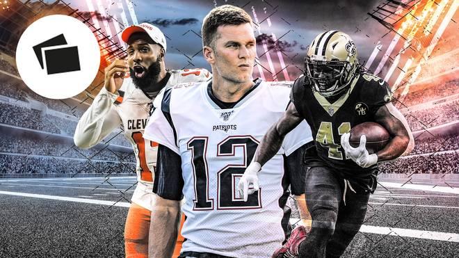 Tom Brady (M.) und die New England Patriots wollen den Titel in der NFL verteidigen