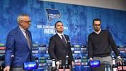 Die Hertha-Bosse Werner Gegenbauer (l.) und Michael Preetz (r.) können mit dem Geld von Investor Lars Windhorst (M.) planen