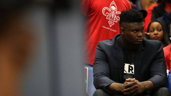 NEW ORLEANS, LOUISIANA - NOVEMBER 27: Zion Williamson #1 of the New Orleans Pelicans sits on the bench during the game against the Los Angeles Lakers at Smoothie King Center on November 27, 2019 in New Orleans, Louisiana.  NOTE TO USER: User expressly acknowledges and agrees that, by downloading and/or using this photograph, user is consenting to the terms and conditions of the Getty Images License Agreement (Photo by Chris Graythen/Getty Images)