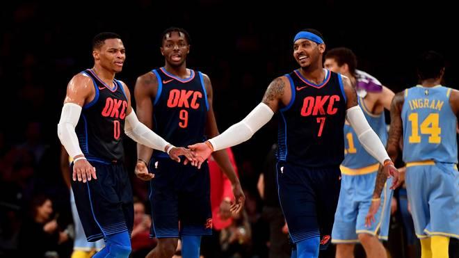 Russell Westbrook (l.) und Carmelo Anthony (r.) spielen seit dieser Saison gemeinsam bei den Oklahoma City Thunder