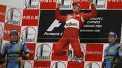Michael Schumacher of Germany (C) celebr