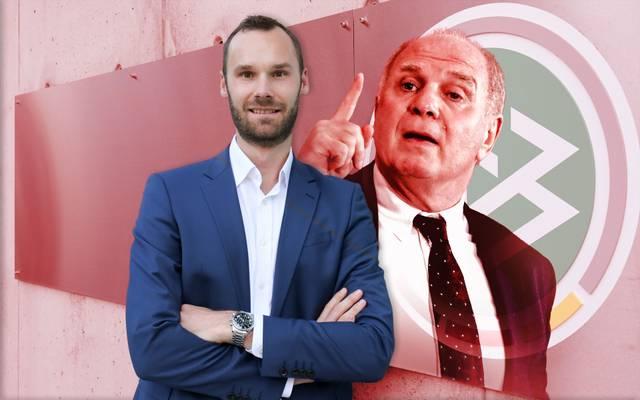 Tobias Haupt (l.), Leiter der DFB-Akademie, ist von Uli Hoeneß beeindruckt