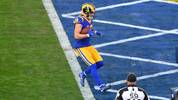LOS ANGELES, CA - DECEMBER 29: Cooper Kupp #18 of the Los Angeles Rams scores a touchdown against the Arizona Cardinals in the second quarter at Los Angeles Memorial Coliseum on December 29, 2019 in Los Angeles, California. (Photo by John McCoy/Getty Images)
