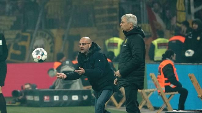 Peter Bosz (l.) trainierte bis März Bayer Leverkusen