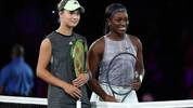NEW YORK, NEW YORK - AUGUST 27:  Sloane Stephens (R) of the United States and Anna Kalinskaya (L) of Russia pose prior to their Women's Singles first round match on day two of the 2019 US Open at the USTA Billie Jean King National Tennis Center on August 27, 2019 in the Flushing neighborhood of the Queens borough of New York City. (Photo by Mike Stobe/Getty Images)