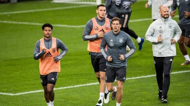 Die Bayern-Stars Serge Gnabry, Leon Goretzka und Niklas Süle im Training der Nationalmannschaft