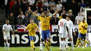 Sweden's striker and team captain Zlatan Ibrahimovic (C) celebrates with his teammates after scoring his 3rd goal of the match during the FIFA World Cup 2014 friendly match England vs Sweden in Stockholm, on November 14, 2012. AFP PHOTO / JONATHAN NACKSTRAND        (Photo credit should read JONATHAN NACKSTRAND/AFP via Getty Images)