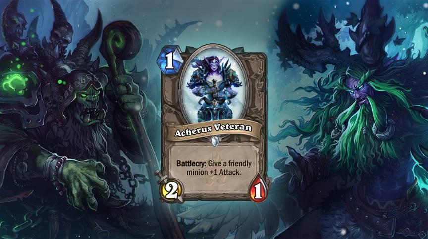 Acherus Veteran (acherus-Veteranin) - Kampfschrei: Verleiht einem befreundeten Diener +1 Angriff. Die Karte wird zweimal im Deck gespielt