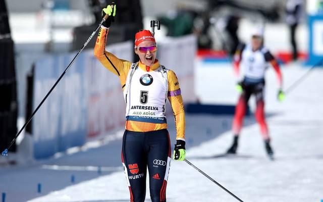 Denise Herrmann gewann bei der Biathlon-WM in Antholz Silber in der Verfolgung