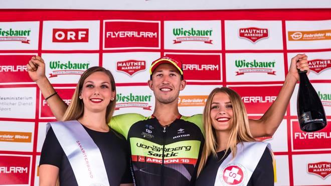 Stage winner Jannik Steimle (Team Vorarlberg Santic, GER) poses on the podiumm after the 5th stage of the 2019 Tour of Austria from Bruck an der Glocknerstraße to Kitzbuehel om July 11, 2019. - - (Photo by JFK / APA / AFP) / Austria OUT        (Photo credit should read JFK/AFP/Getty Images)