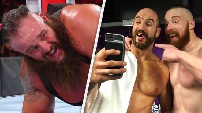 Braun Strowman (l.) verlor bei WWE No Mercy 2017 Blut, Cesaro (M.) zwei Zähne