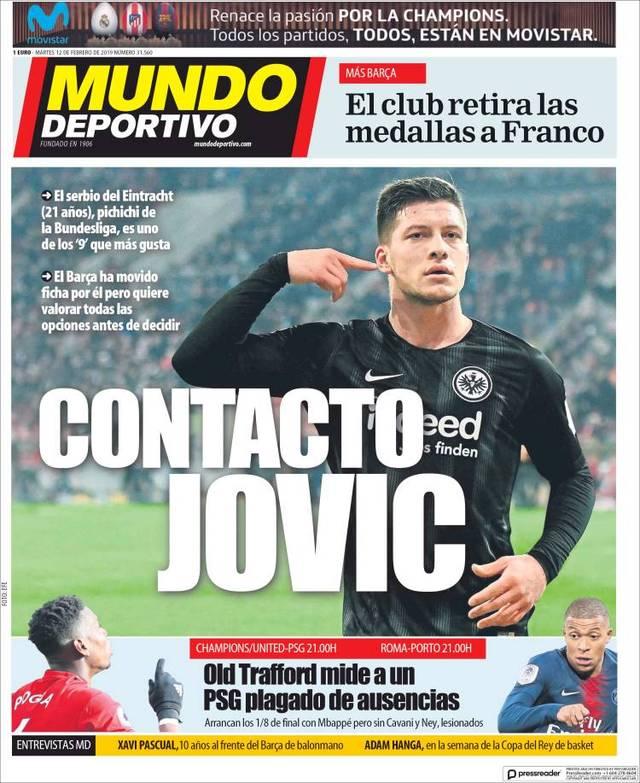 Barcelonas Sporttageszeitungen titelten am Dienstagmorgen mit Luka Jovic von Eintracht Frankfurt