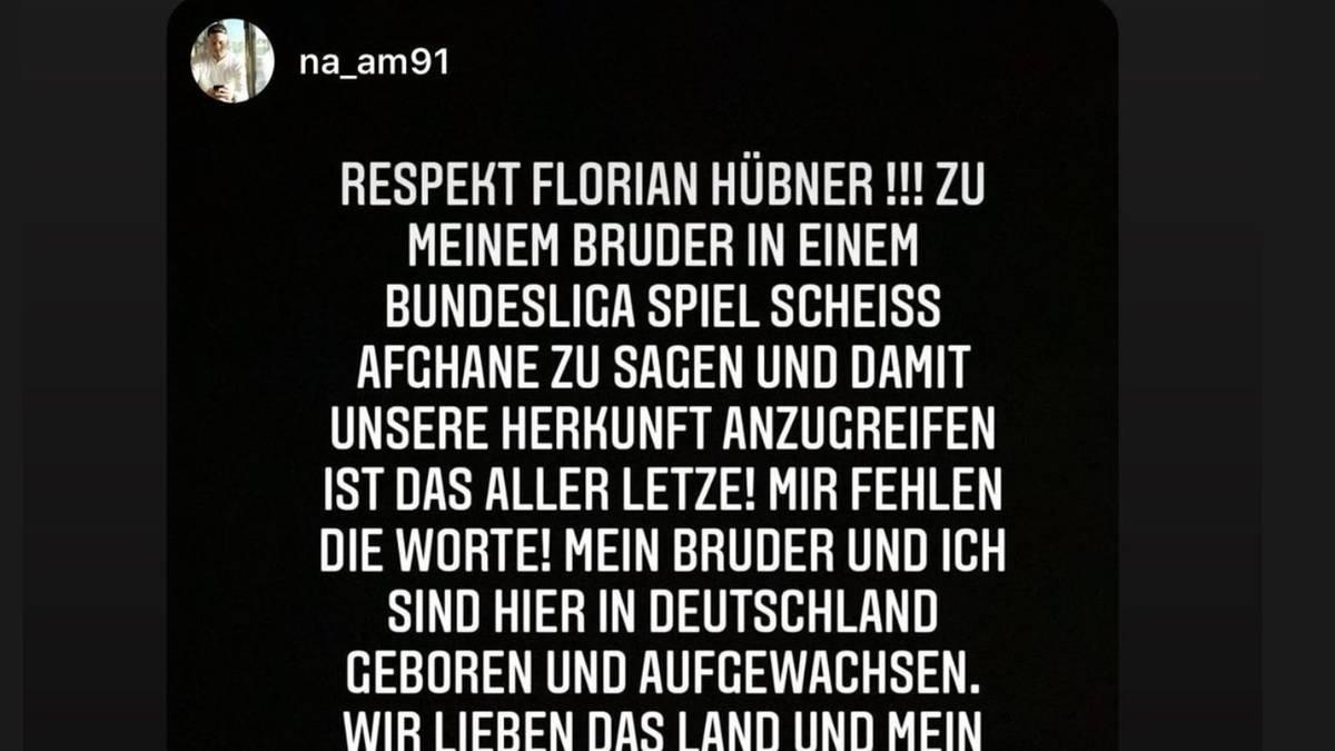 Nauwid Amiri äußert via Instagram schwere Vorwürfe gegen Florian Hübner
