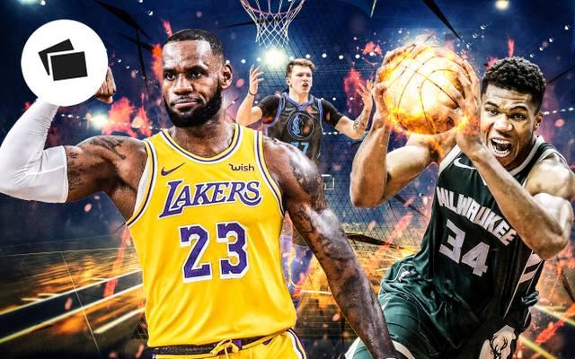 LeBron James (l.) und Giannis Antetokounmpo (r.) führen die beiden All-Star-Teams an. Luka Doncic wurde nicht als Starter nominiert