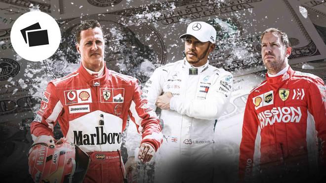 Michael Schumacher (l.), Lewis Hamilton (M.) und Sebastian Vettel gehören zu den Topverdienern der Formel 1