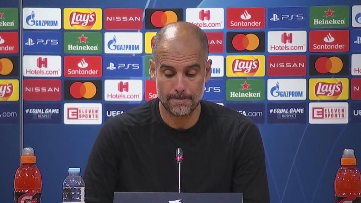 Pep Guardiola scheitert mit Manchester City erneut im Viertelfinale der Champions League. Auf der Pressekonferenz nach der 1:3-Pleite gegen Olympique Lyon zeigt sich der Coach konsterniert.