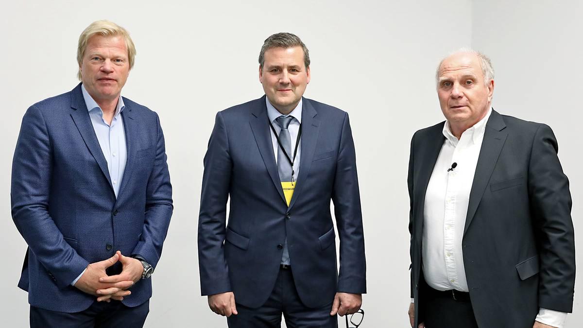 SPORT1-Chefredakteur Pit Gottschalk (M.) traf die Bayern Bosse Uli Hoeneß (r.) und Oliver Kahn (l.) zum Interview