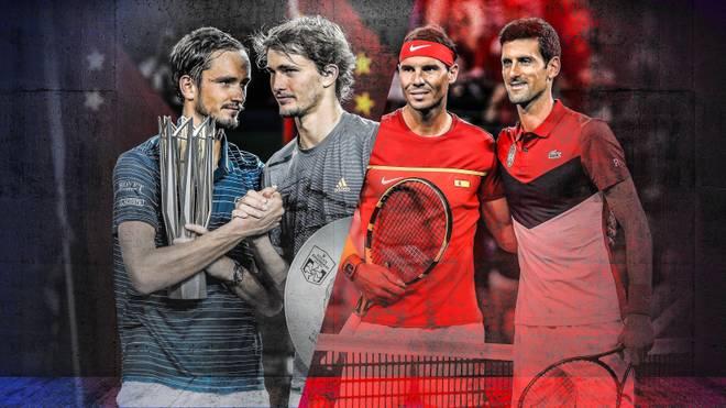 Daniil Medvedev und Alexander Zverev müssen sich noch gedulden, bis sie Rafael Nadal und Novak Djokovic (v.l.) den Status streitig machen können