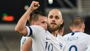 Finland's teemu Pukki celebrates after scoring against Greece during a group J qualification Euro 2020 football match, at the Athens' Olympic stadium on November 18, 2019. (Photo by ARIS MESSINIS / AFP) (Photo by ARIS MESSINIS/AFP via Getty Images)