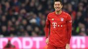 Bayern Munich's Polish forward Robert Lewandowski celebrates scoring during the German first division Bundesliga football match FC Bayern Munich vs BVB Borussia Dortmund in Munich, southern Germany, on November 9, 2019. (Photo by Christof STACHE / AFP) / DFL REGULATIONS PROHIBIT ANY USE OF PHOTOGRAPHS AS IMAGE SEQUENCES AND/OR QUASI-VIDEO (Photo by CHRISTOF STACHE/AFP via Getty Images)