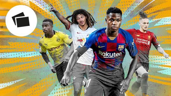Youssoufa Moukoko. Ethan Ampadu, Ansu Fati, Harvey Elliott (v.l.): Die Teenie-Talente des Weltfußballs