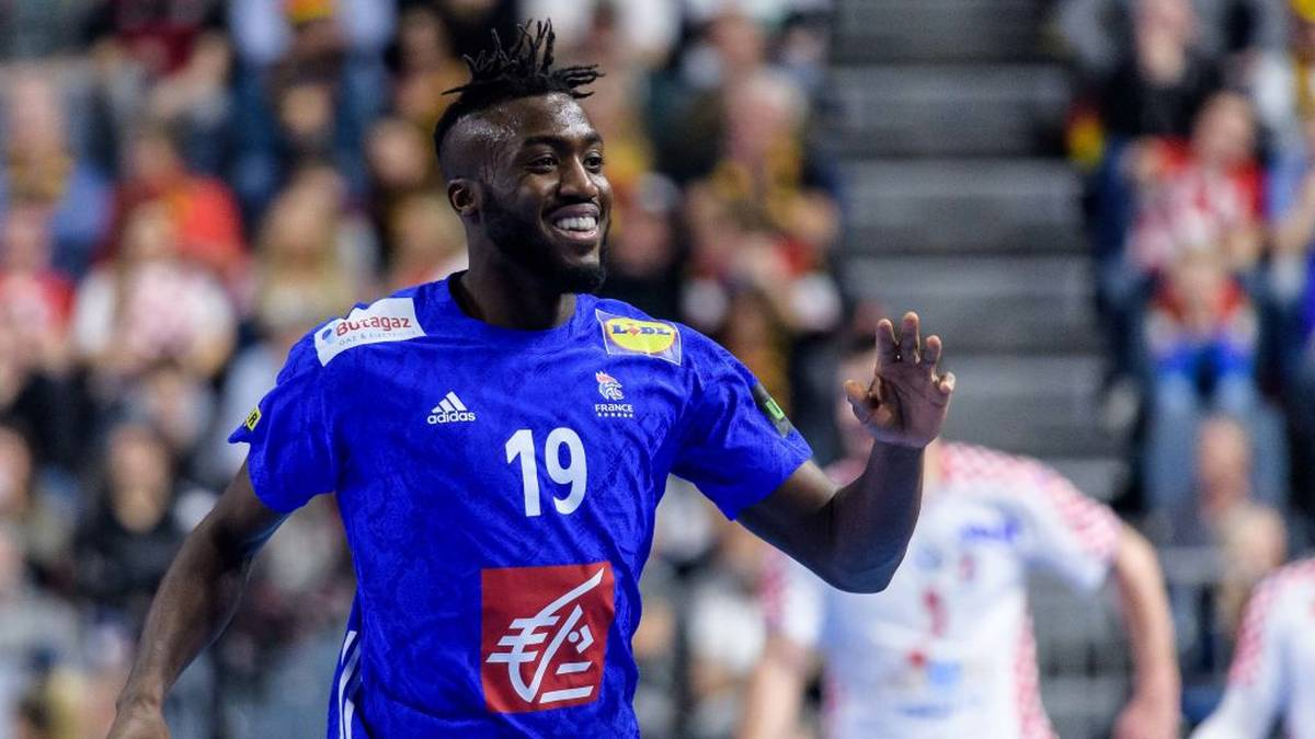 COLOGNE, GERMANY - JANUARY 23: Luc Abalo of France reacts during the Main Group 1 match on the 26th IHF Men's World Championship between France and Croatia at the Lanxess Arena on January 23, 2019 in Cologne, Germany. (Photo by Jörg Schüler/Getty Images)
