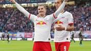 Yussuf Poulsen (r., mit Marcel Sabitzer) spielt seit sieben Jahren bei RB Leipzig
