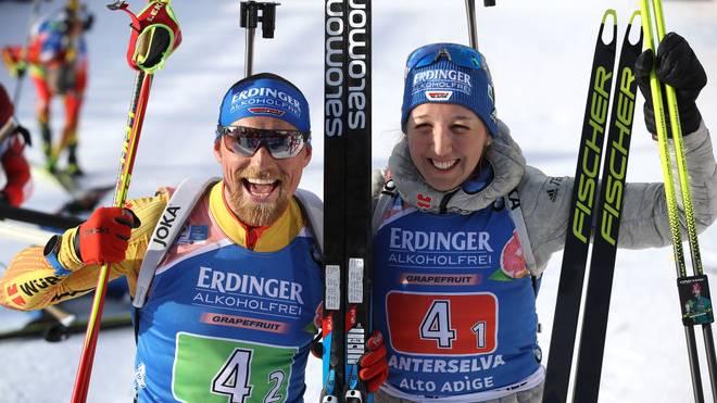 Erik Lesser und Franziska Preuß kamen nach ihrem Silber-Coup gar nicht mehr aus dem Strahlen heraus
