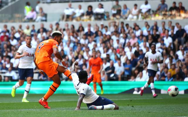 LONDON, ENGLAND - AUGUST 25: Joelinton of Newcastle United scores his team's first goal during the Premier League match between Tottenham Hotspur and Newcastle United at Tottenham Hotspur Stadium on August 25, 2019 in London, United Kingdom. (Photo by Julian Finney/Getty Images)