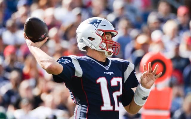 FOXBOROUGH, MA - SEPTEMBER 22: Tom Brady #12 of the New England Patriots throws the ball in the third quarter against the New York Jets at Gillette Stadium on September 22, 2019 in Foxborough, Massachusetts. (Photo by Kathryn Riley/Getty Images)