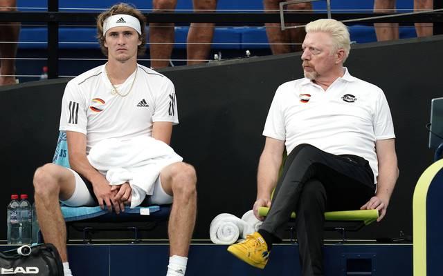 Ernüchterung pur: Alexander Zverev und Boris Becker beim ATP Cup