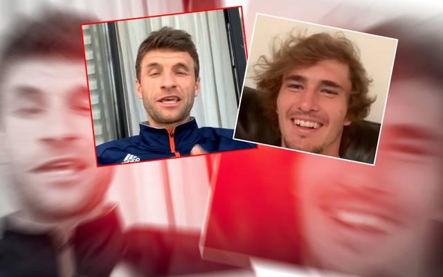 Thomas Müller und Alexander Zverev hatten beim Video-Chat ihren Spaß