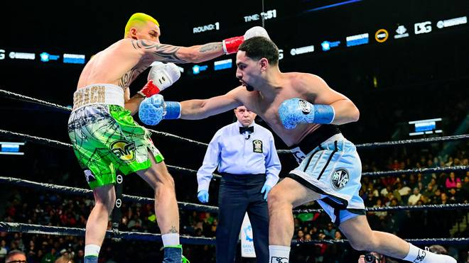 NEW YORK, NEW YORK - JANUARY 25:  Ivan Redkach (L) and Danny Garcia exchange punches during their WBC silver world welterweight title eliminator at Barclays Center on January 25, 2020 in New York City. (Photo by Steven Ryan/Getty Images)
